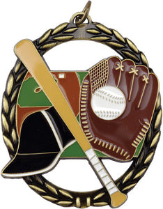 "Baseball Negative Space 2.75"" Medal with Neck Ribbon"