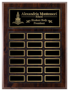 Grooved Walnut Finish Annual Plaque