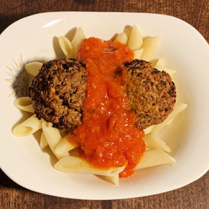 vegan lentil meatballs pasta and tomato sauce