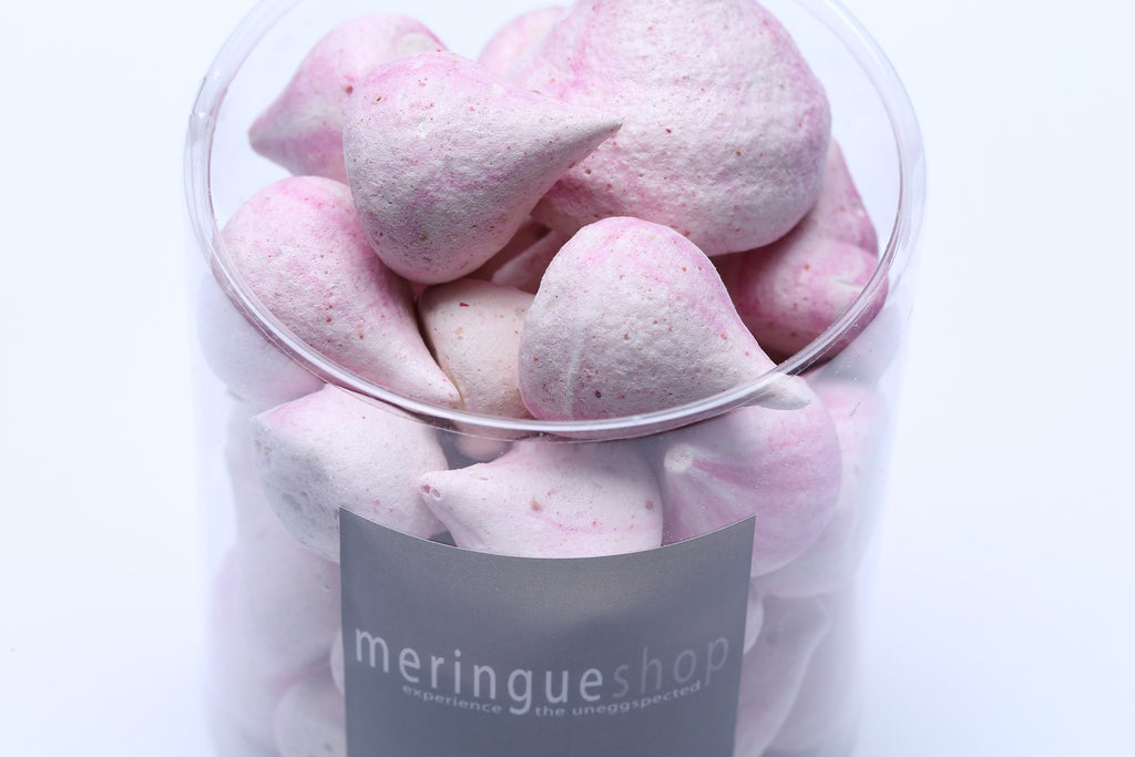 Combining raspberries with edible organic rose petals gives a beautiful pink hue to this delightful meringue flavor.