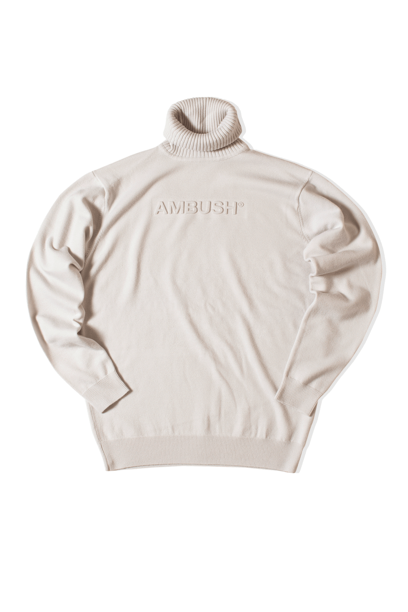 Turtle Neck Emboss Knit White