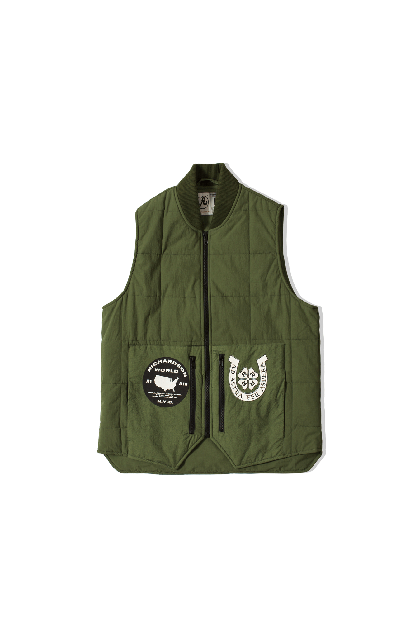 Embellished Quilted Vest Green