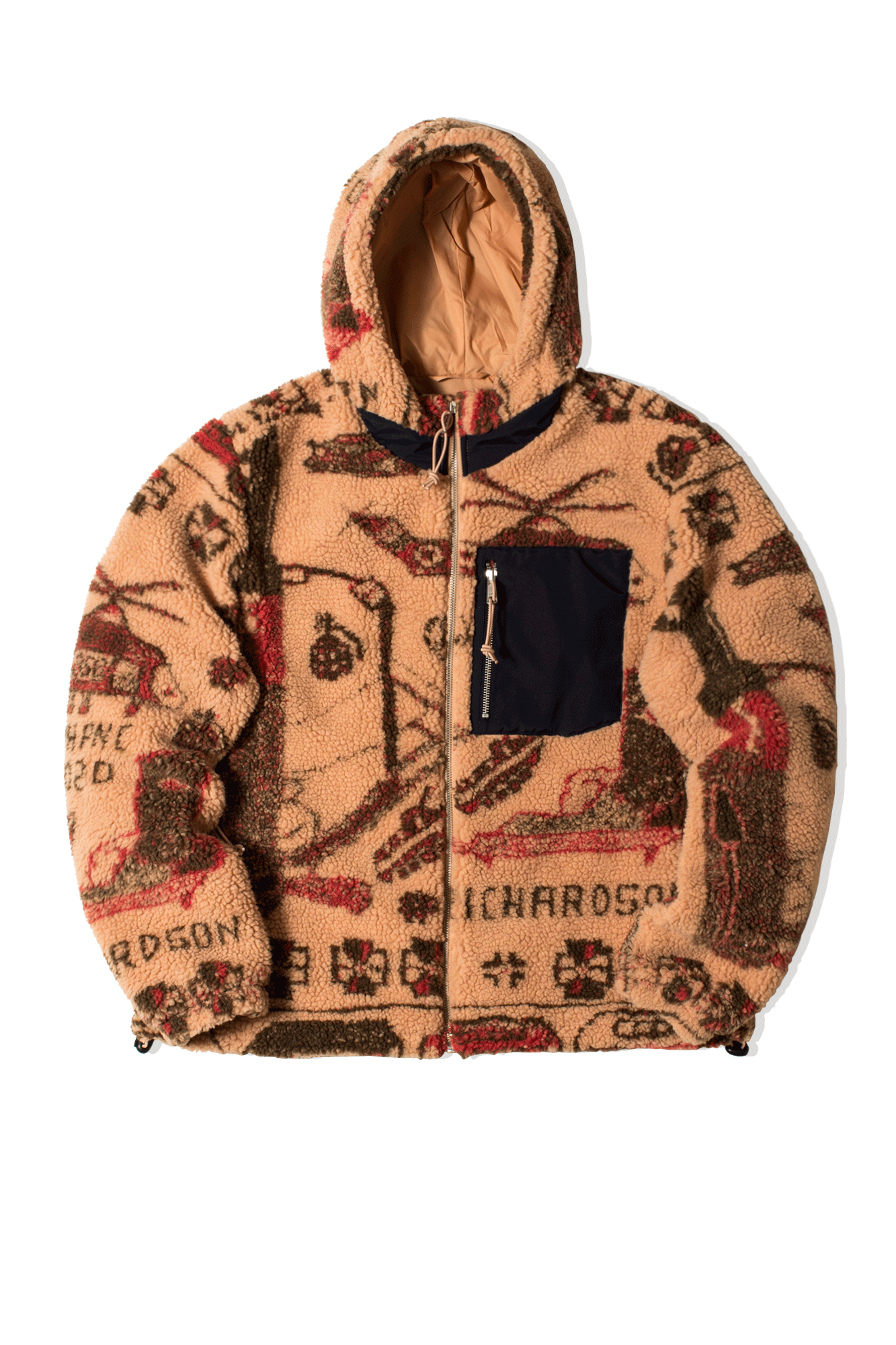 War Rug Polar Fleece Hoodie Orange