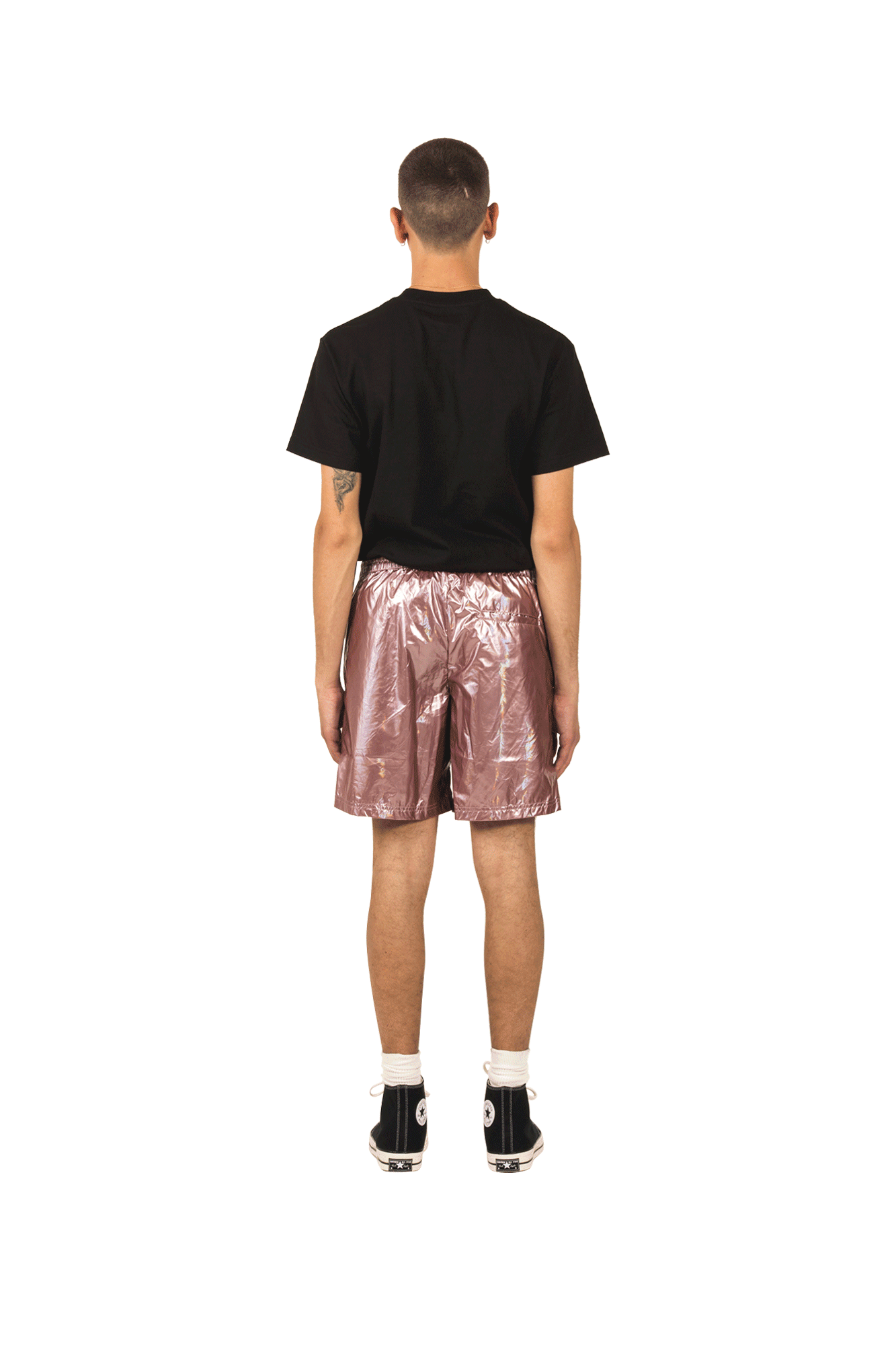 Pleasures Shorts Liquid Metallic Shorts Pink P19S105007#050#PINK#S - One Block Down