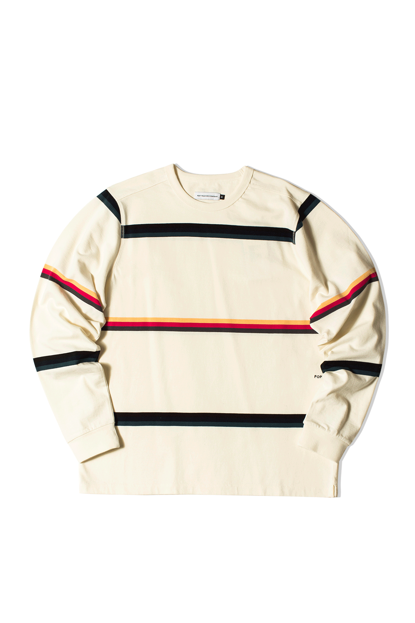 Pop Trading Company Long sleeve T-Shirts Striped Longsleeve T-Shirt White SS2102-005#000#OFFWHT#M - One Block Down