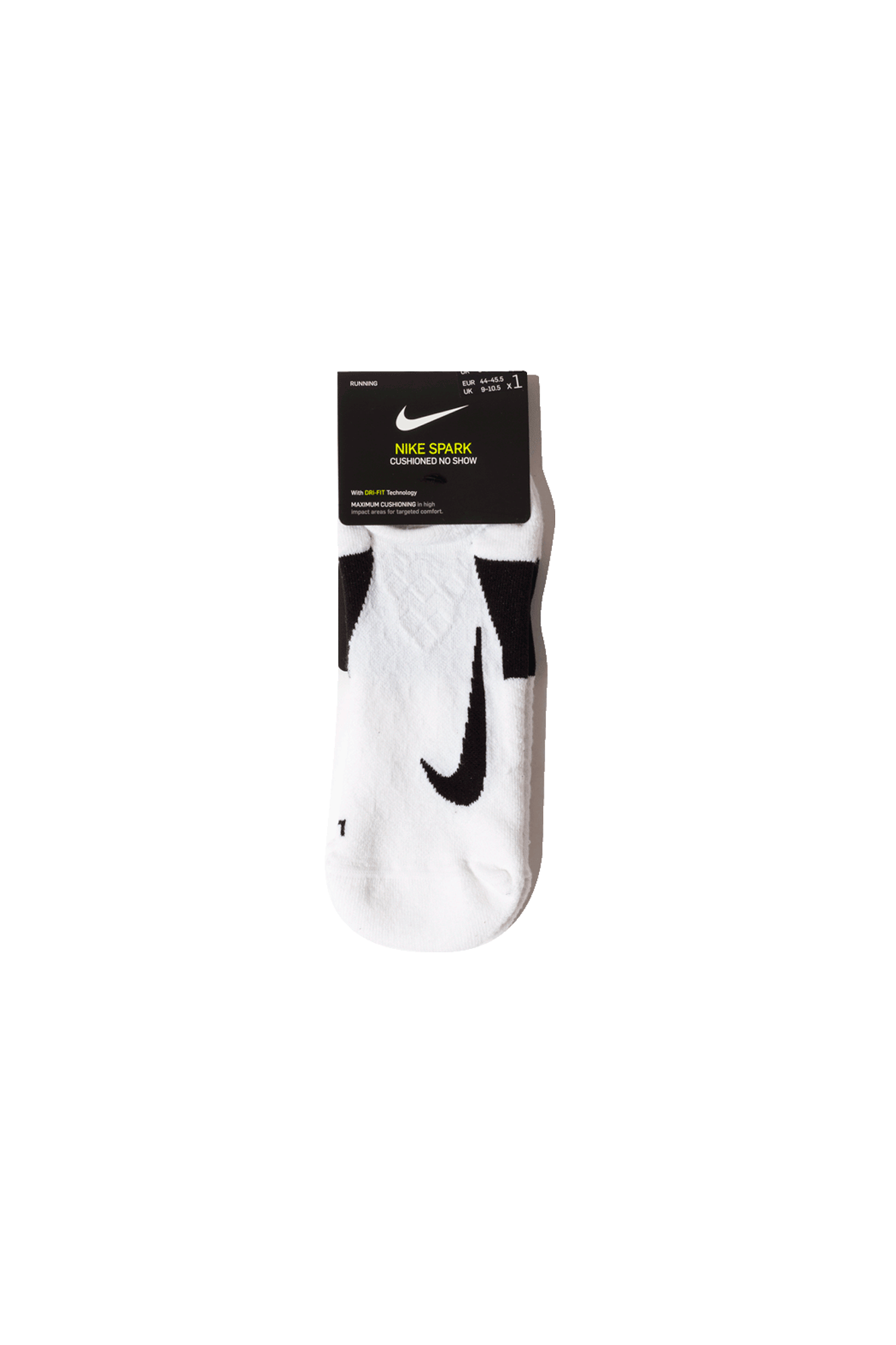Dry Elite Cushioned No-Show Running Sock White