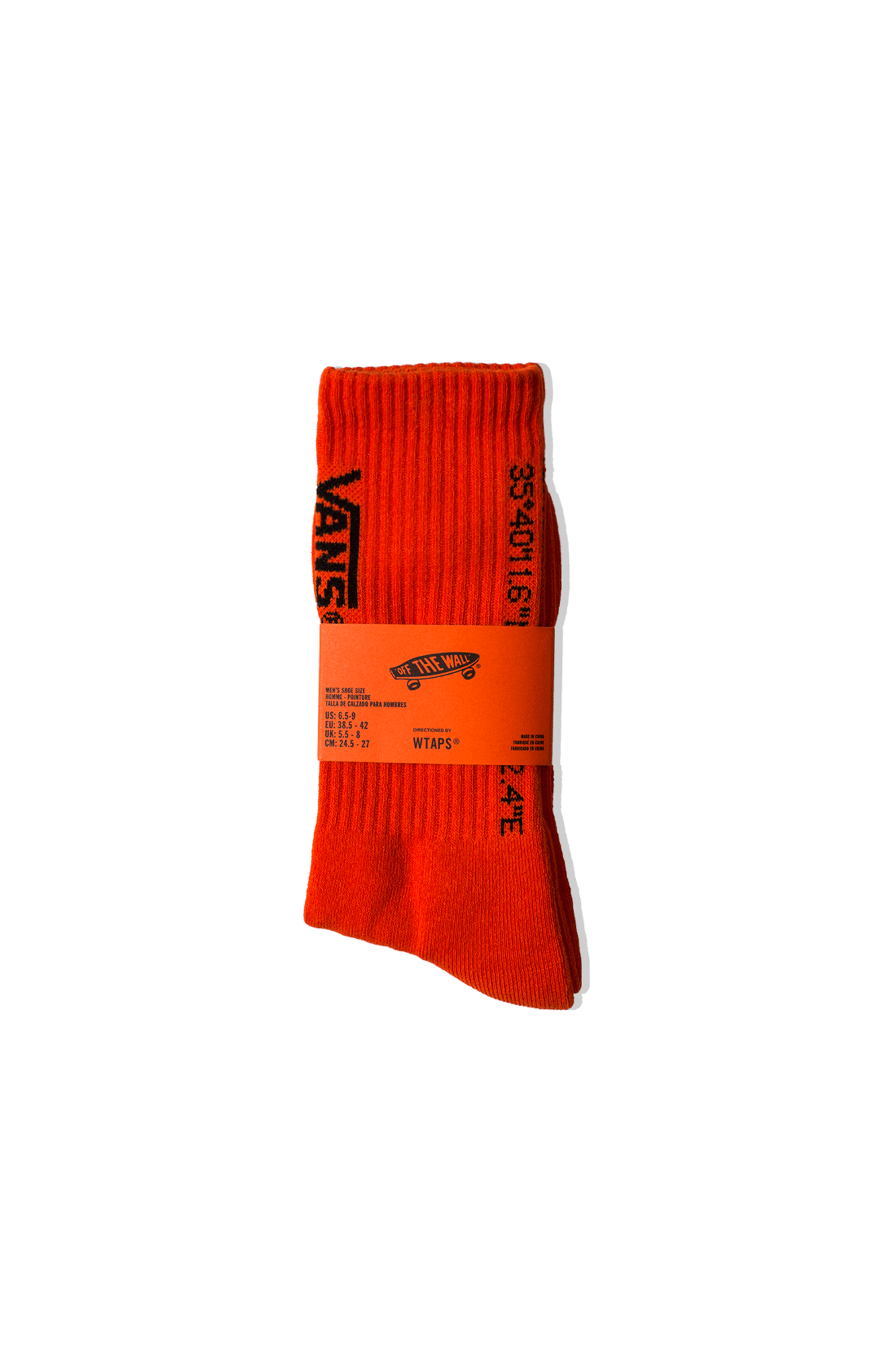 Vans Socks Coordinates Crew Socks x WTAPS Orange VN0A4TRF#ZXT1#C0005#OS - One Block Down