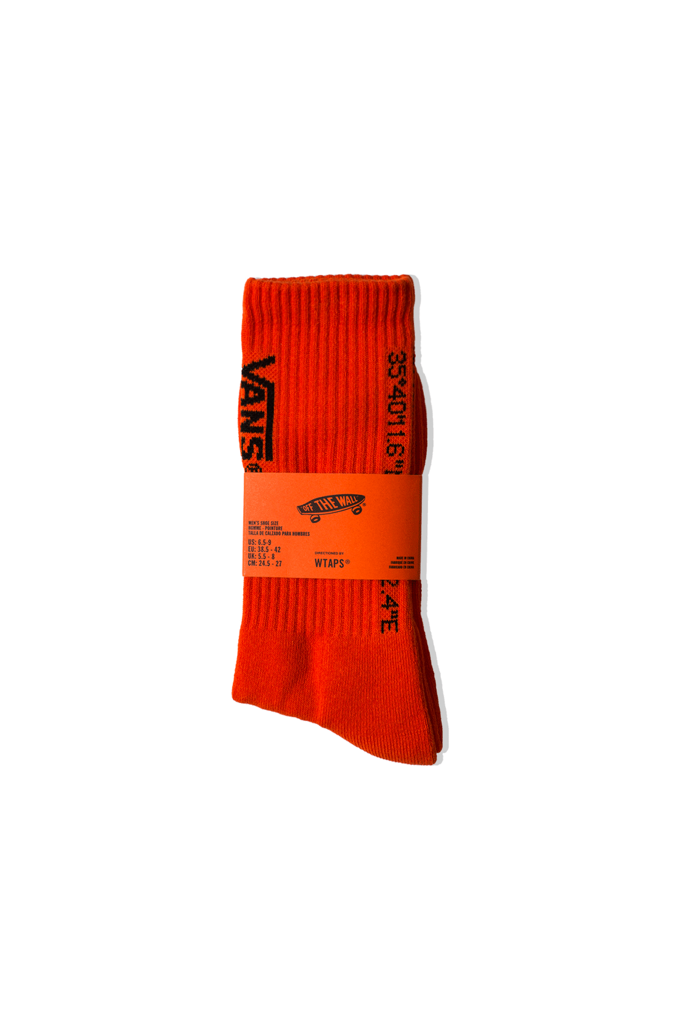 Vans Socks Coordinates Crew Socks x WTAPS Orange VN0A4TRG#ZXT1#C0005#OS - One Block Down