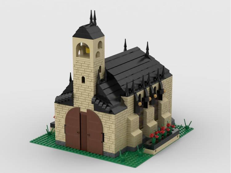 Modular Church With Cemetery | build from 4 MOCs