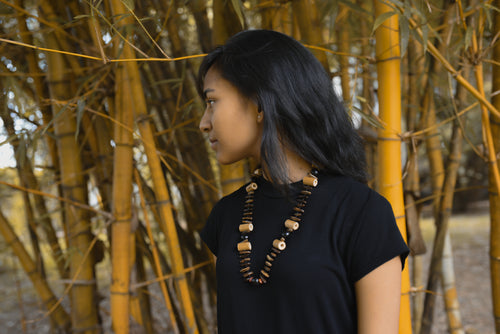 Bamboo Reetha with Gulmohar Neck-piece