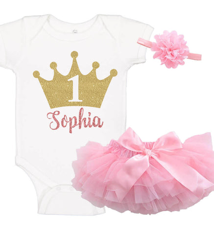 1st Birthday Crown Onesie Set with Ruffle Bloomer & Headband - Personalized Babies