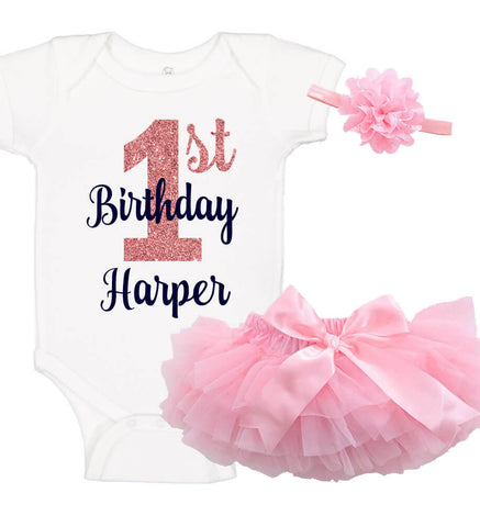 Image of 1st Birthday Onesie Set with Ruffle Bloomer & Headband - Personalized Babies
