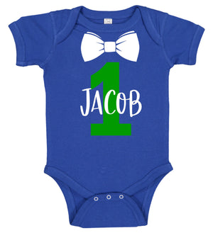 1st Birthday Boy Onesie with Bow Tie - Personalized Babies