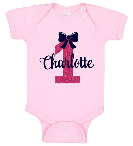 Image of 1st Birthday Girl Onesie with Bow - Personalized Babies