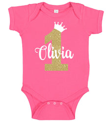 1st Birthday Onesie with Crown - Personalized Babies
