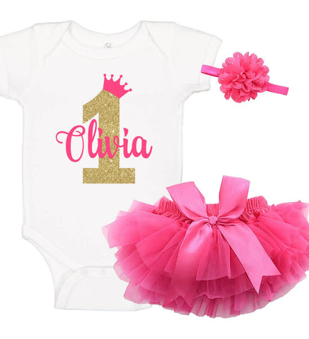 Image of Princess 1st Birthday Onesie Set with Ruffle Bloomer & Headband - Personalized Babies