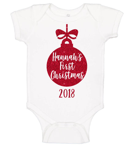 """First Christmas"" Ornament Onesie - Personalized Babies"