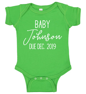 Pregnancy Announcement Onesie - Personalized Babies