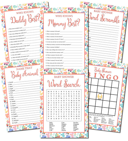 Printable Baby Items Shower Games Set (6)