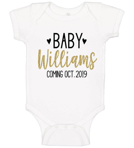 Pregnancy Announcement Onesie with Name & Date - Personalized Babies
