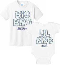 Big Bro & Lil Bro Bodysuit & T-Shirt Set - Polka Dot