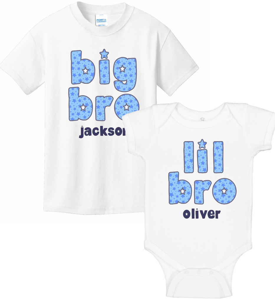 Big Bro & Lil Bro Bodysuit & T-Shirt Set - Stars
