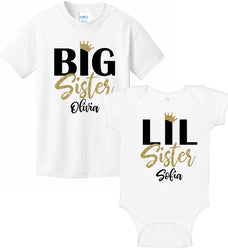 Big Sister & Lil Sister Princess Bodysuit & T-Shirt Set