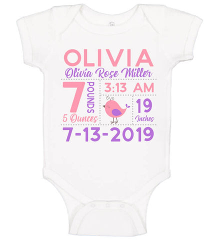 Birth Announcement Onesie - Bird