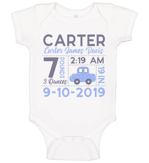 Birth Announcement Onesie - Car