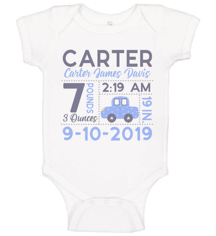 Birth Announcement Bodysuit - Car