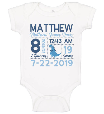 Image of Birth Announcement Bodysuit - Dinosaur