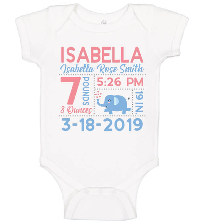 Birth Announcement Bodysuit - Elephant with Hearts
