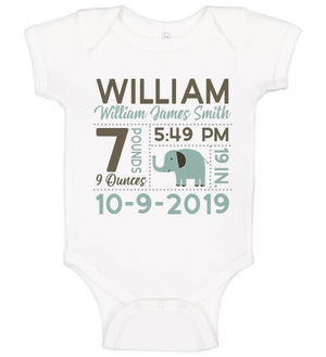 Birth Announcement Bodysuit - Elephant
