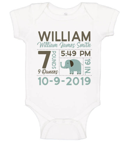 Birth Announcement Onesie - Elephant