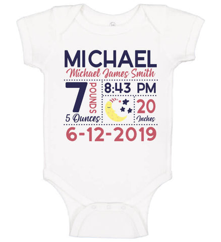 Image of Birth Announcement Bodysuit - Moon & Stars