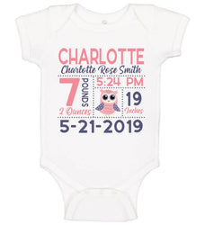 Birth Announcement Bodysuit - Pink Owl