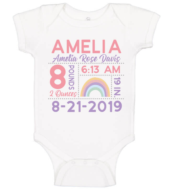 Birth Announcement Onesie - Rainbow