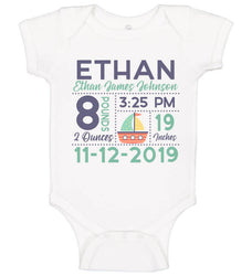 Birth Announcement Bodysuit - Sailboat