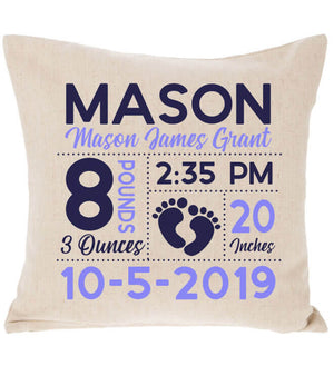 Birth Announcement Pillow - Footprint