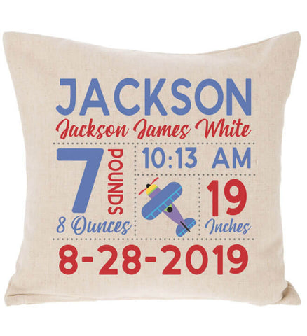 Image of Birth Announcement Pillow - Airplane
