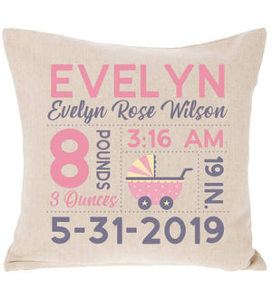Birth Announcement Pillow - Baby Carriage