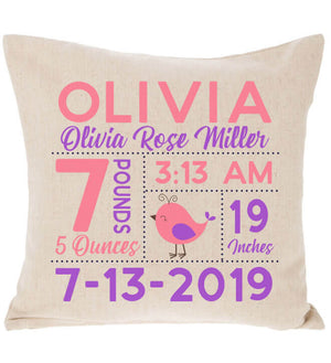 Birth Announcement Pillow - Bird