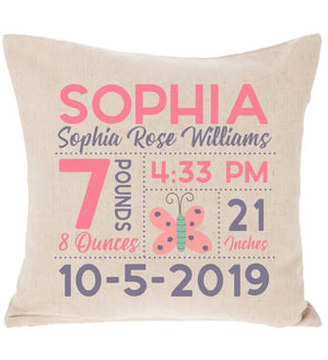 Birth Announcement Pillow - Butterfly