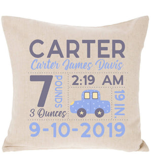 Birth Announcement Pillow - Car