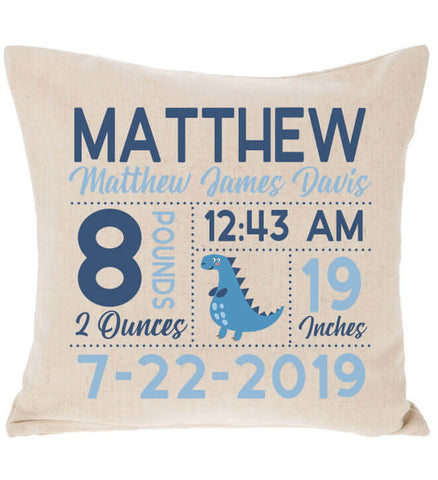 Image of Birth Announcement Pillow - Dinosaur