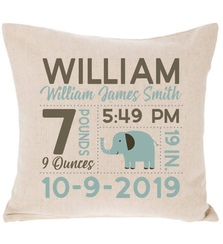 Image of Birth Announcement Pillow - Boy Elephant