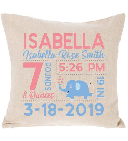 Birth Announcement Pillow - Elephant with Hearts