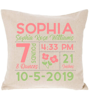 Birth Announcement Pillow - Flowers