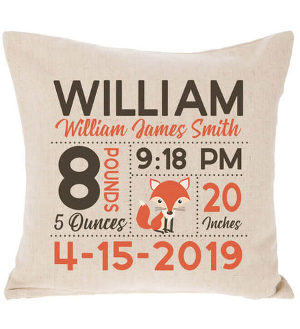 Image of Birth Announcement Pillow - Fox