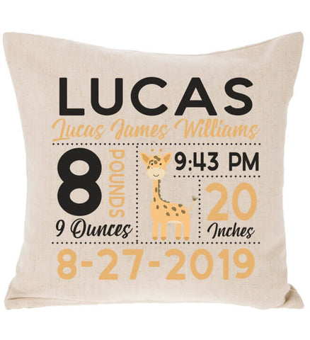 Birth Announcement Pillow - Giraffe